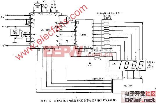 由MC14433构成的3,12位数字电压表电路图(LED显示器)