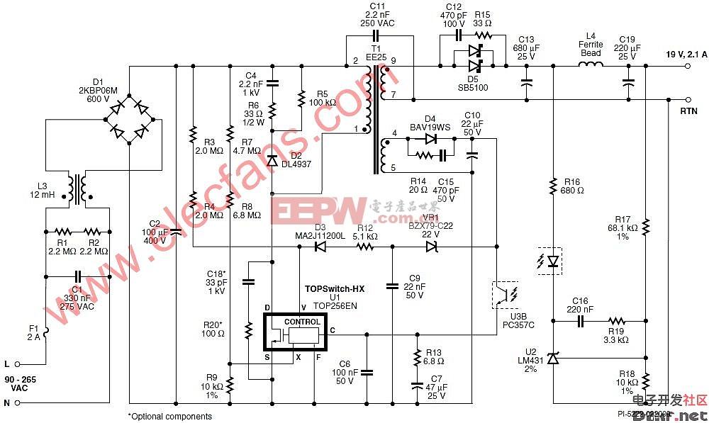 设计/使用TOP256EN设计的40 W笔记本电源的电路图