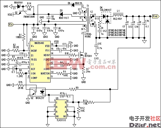 Figure 1. Schematic diagram of 48V in and 5V out @ 10A isolated power supply.