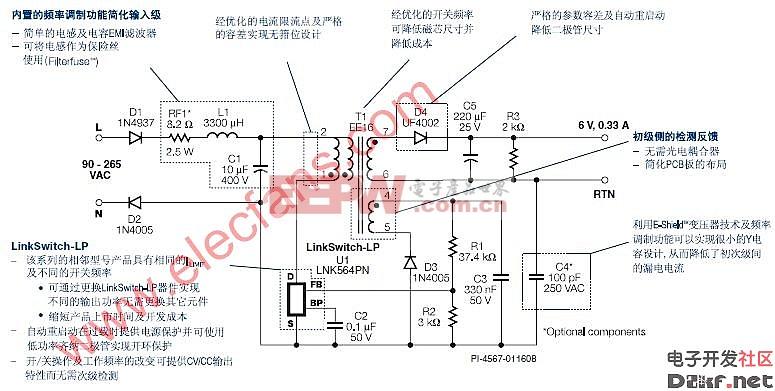 LinkSwitch-LP–替代非穩壓線性變壓器電路