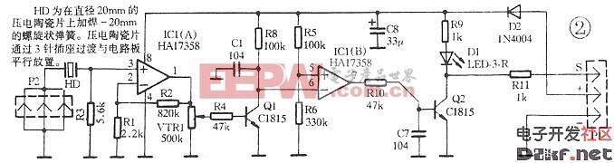 汽车防盗系统用电子震动式传感器电路原理图