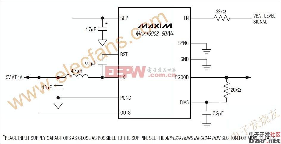 小尺寸、同步整流buck转换器MAX16903