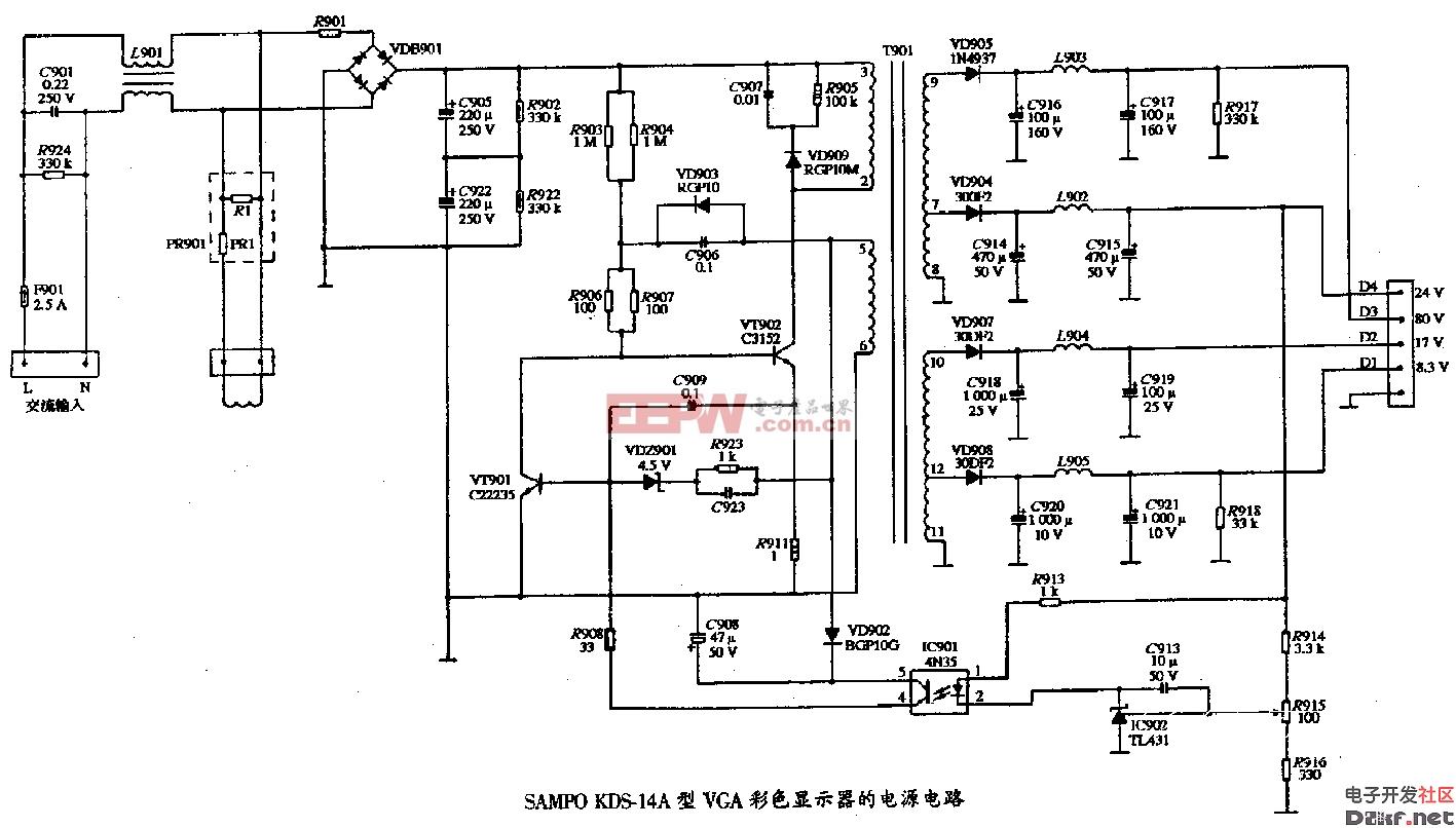 电路图 电源 显示器 vga/sampokds/14a型vga彩色显示器的电源电路图