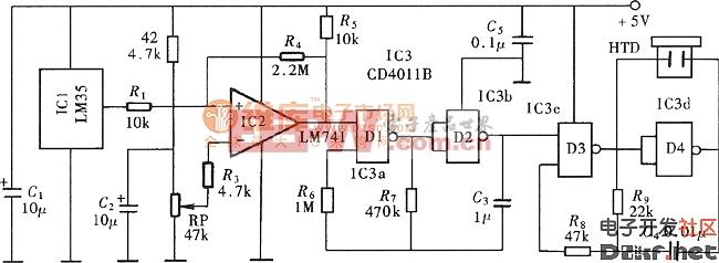 超温监测警示电路(LM35、LM741)电路