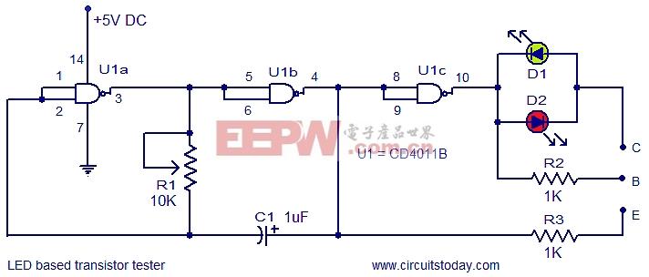 基于LED的晶体管测试仪电路