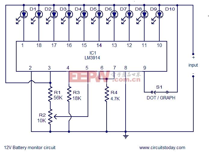 电池电量指示电路采用lm3914