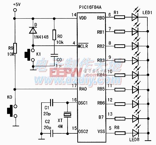 PIC16F84A单片机点灯电路图PIC16F84A FLASH LED