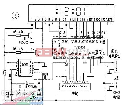 用高精度60Hz发生器MM5369与TMS3450,TMSl943制作的LED数字钟