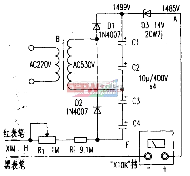 给500型万用表增加十兆欧挡Multimeter resistance measurement circuit