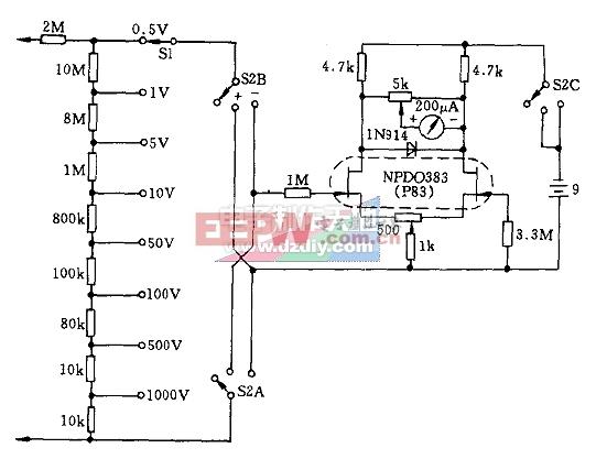 由场效应晶体管输出的多量程电压表