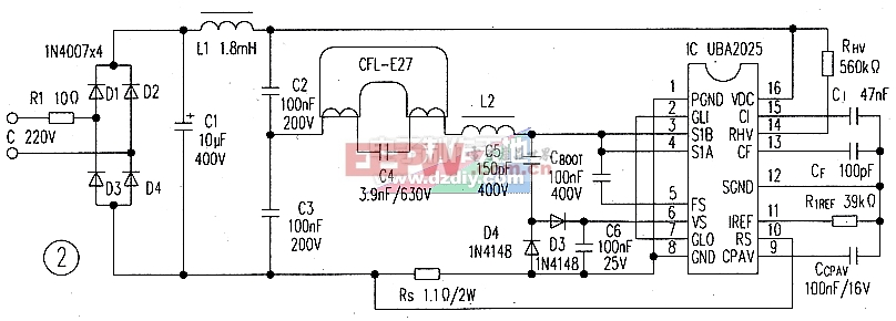 采用uba2025功率ic的23w节能灯镇流器-----uba2025
