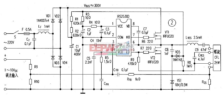 irs2530d电子镇流器电路图-----irs2530 ballast circuit