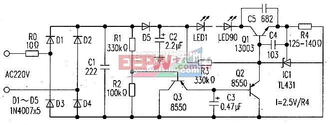 具有软启动和防冲击的恒流LED灯驱动电路图Soft-start LED driver