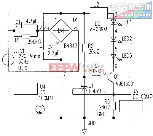 一款简单实用的LED灯驱动电路LED LAMP
