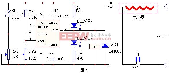 NE555制作的恒温控制器-----NE555  thermostat controller