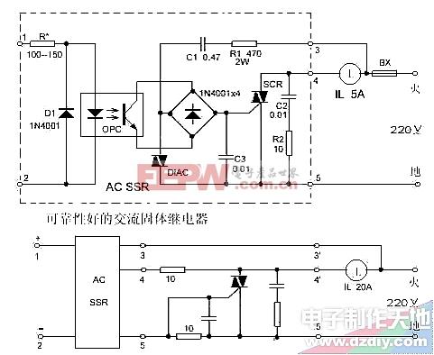 容易制作、可靠性好的交流固体继电器电路