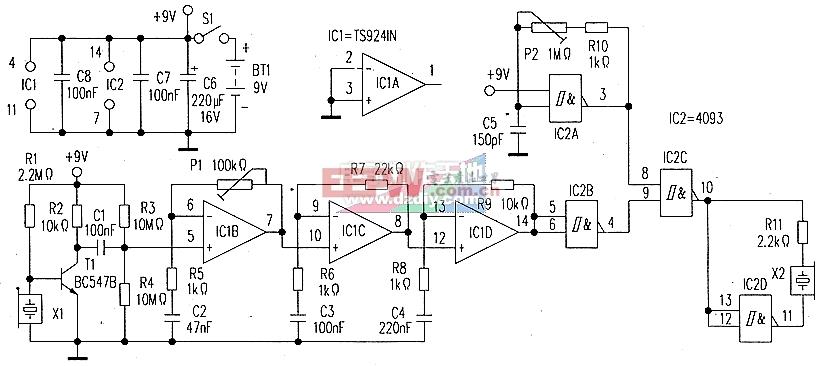 蝙蝠声音探测器电路图Ultrasonic detector