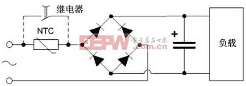 带继电器旁路电路的电源设计示意图