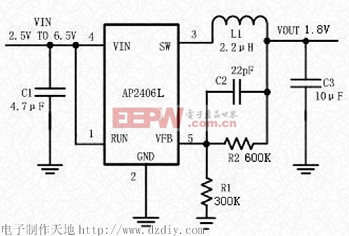 AP2406L同步降压典型电路--电子制作天地