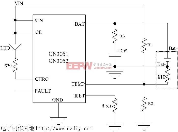 CN3051/CN3051典型应用电路--电子制作天地