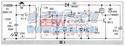 应急灯自动充电器电路图6V battery charger