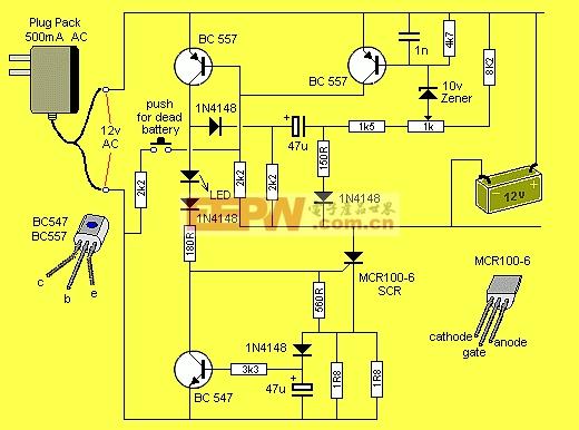 12v可控硅蓄电池充电器电路图