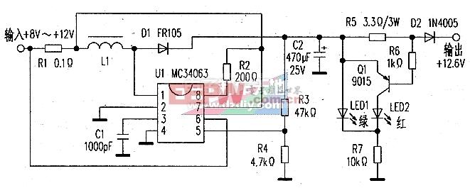 MC34063充电电压变换器电路图MC34063 step-up converter