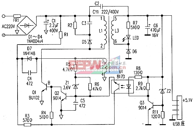 手机充电器电源电路图RCC power supply