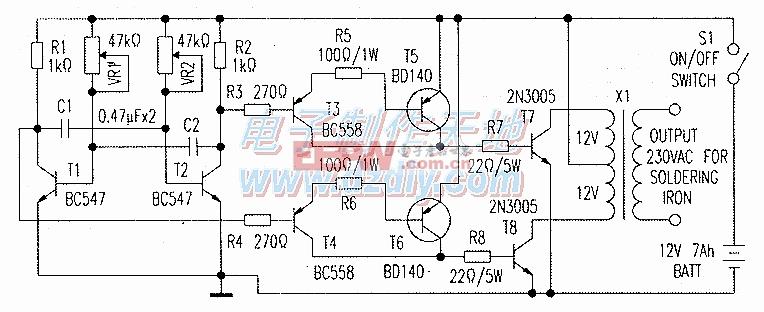 电烙铁的逆变电源电路图Power supply for soldering iron