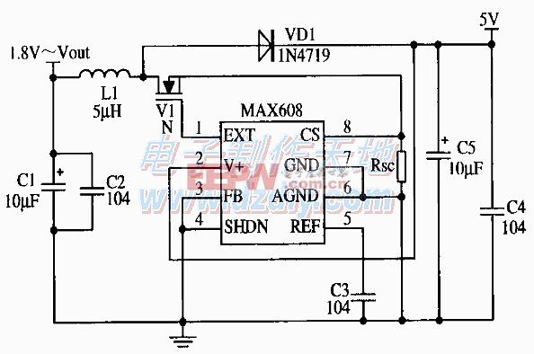 MAX608构成固定5V输出的应用电路图MAX608 5V POWER SUPPLY