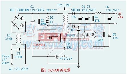 TOP243制作的3V/4A 高效率开关稳压电源电路图TOP243 power supply