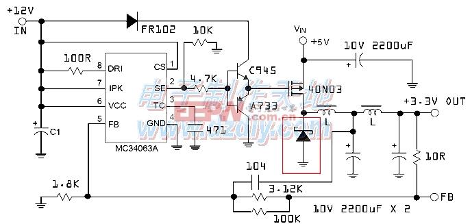 MC34063大电流降压电路