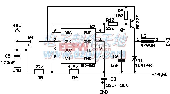 MC34063 INVERTER,MC34063大电流电压反转电路图