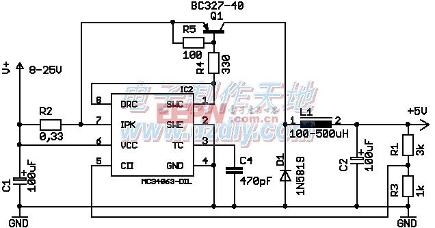 MC34063扩流降压电路图