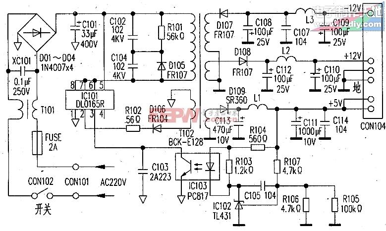 采用DL0165R芯片的影碟机电源电路图DL0165R DVD PLAYER POWER SUPPLY