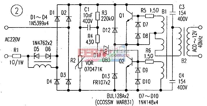 该型电子变压器可直接串接可控硅调光开关,实现对射灯的无级调光。图2为雷士牌具有该功能的代表性电子变压器电路。从图中可以看出.其上振荡电路部分与普通型电子变压器电路大体相同,只是两振荡管选用了电压、功率参数更大一些的型号管子。并且,在电路上两管的c、e极间又加接了保护二极管D12-D13,以减少工作中电路产生的负电压感应脉冲对Q1、Q2产生危害。但其真正有别于普通电路的方面,是在电路输人端所加入L1和D5-D6。L1是一只高频磁环上绕有线圈的电感器。由于电感属储能元件.靠其自感应电动势可阻滞在其上所加电能的