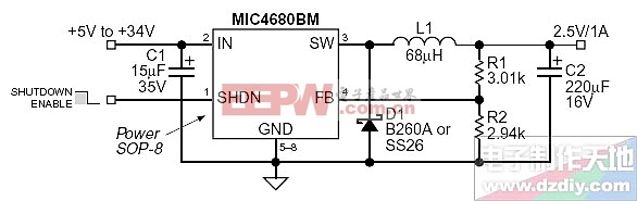MIC4680 +5 to +34 input 2.5V/1A output power converter