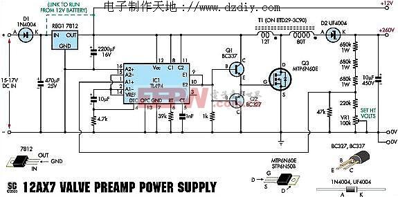 于电子管功放的TL494 升压稳压电源 tl494 boost power converter图片