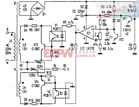 可控硅交流调压电路 AC voltage regulator circuit图片