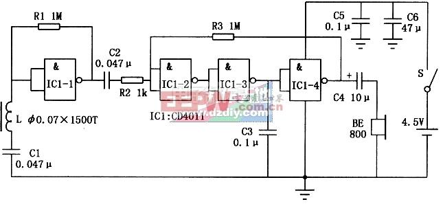 CD4011应用电路――感应式无线耳机电路图CD4011 Wireless headphones