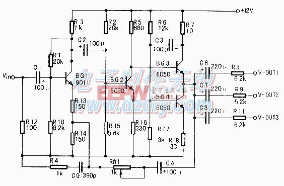 四选一视音频切换电路图Audio signal selector