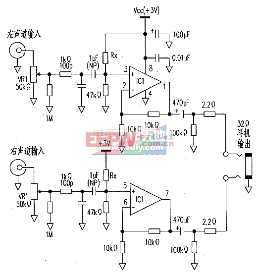3V供电的耳机放大器电路图AD822 Headphone amplifier