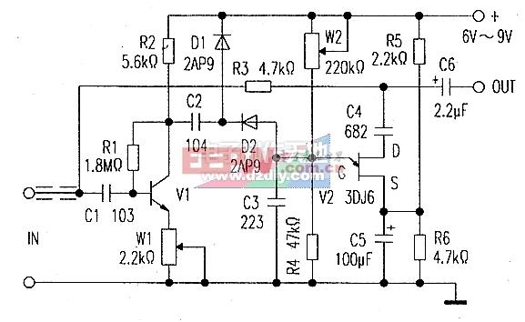 自制动态噪声抑制器电路图Noise suppression circuit