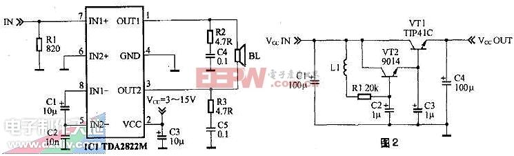 用TDA2822M设计的小功率有源音箱