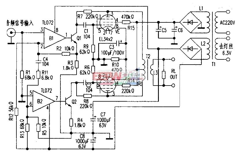 用EL34胆管制作的电子管功率放大器