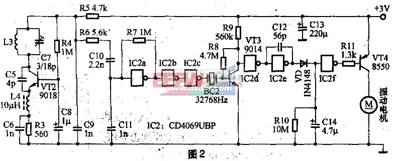 门铃 袖珍 无线遥控 多用途/图2为接收器的电路原理图。