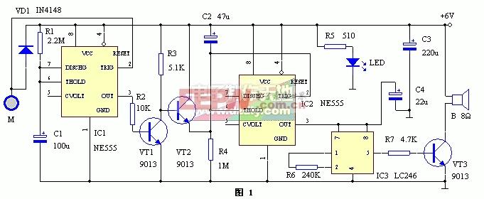 NE555构成的具有时间识别功能的门锁报警器电路图NE555 LOCK ALARM