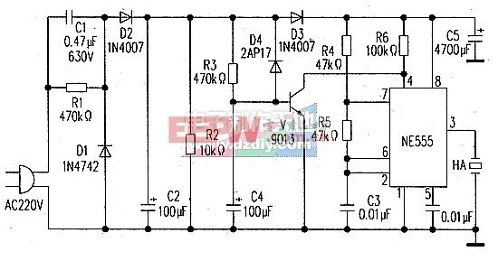 停电和来电都有提示音的报讯器电路图Power failure alarm