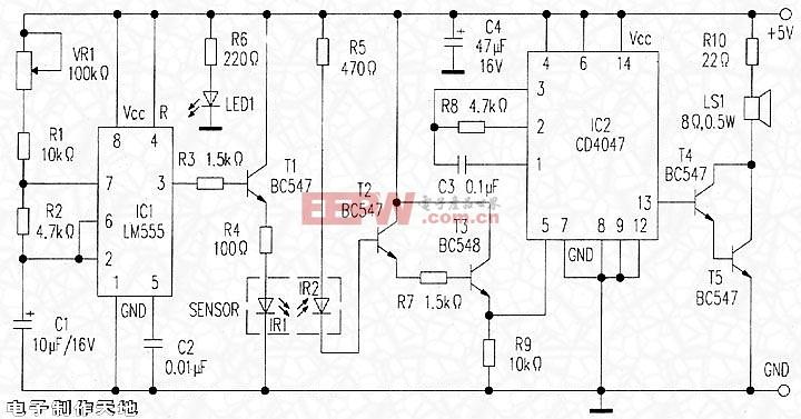 电子制作天地--红外线障碍探测器电路