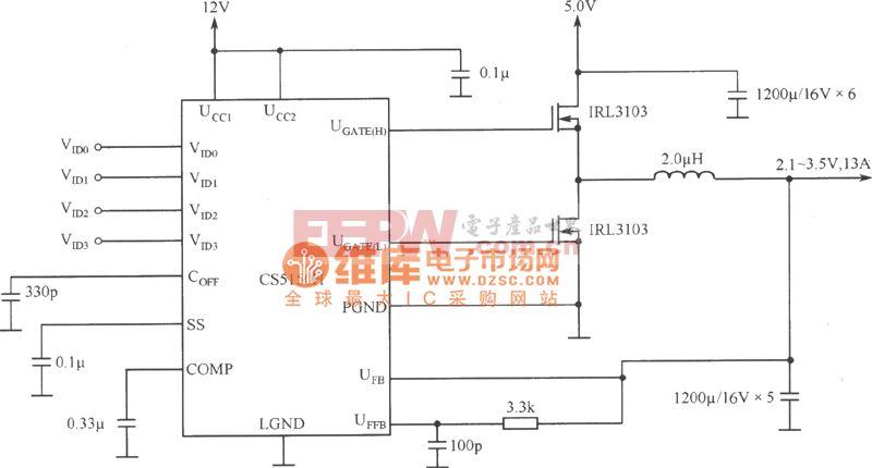 程控开关电源用于片心逻辑—Pentium Pro处理器电路图